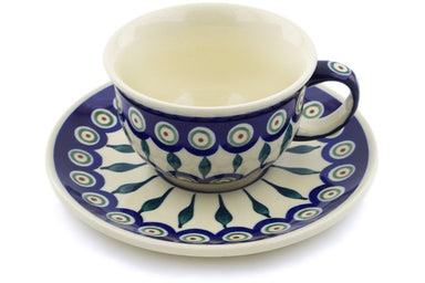 7 oz Cup with Saucer - Peacock | Polish Pottery House