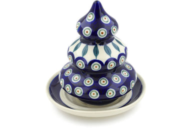 "7"" Christmas Tree Candle Holder - Peacock 