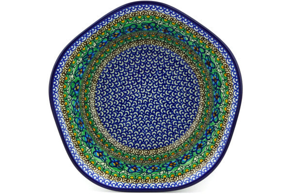 8 cup Scalloped Bowl - Moonlight Blossom | Polish Pottery House