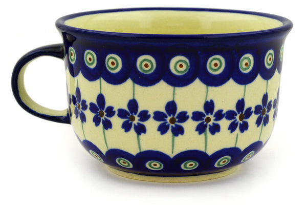 8 oz Cup - Floral Peacock | Polish Pottery House