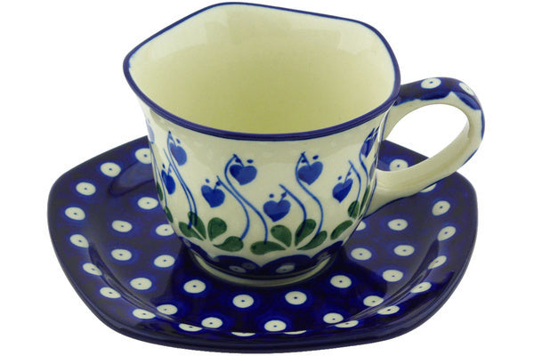 7 oz Cup with Saucer - Blue Bell | Polish Pottery House