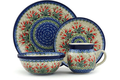 Place Setting - Crimson Bells | Polish Pottery House