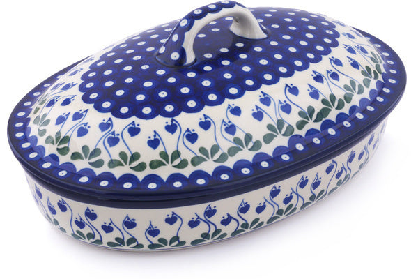 11 cup Covered Baker - Blue Bell | Polish Pottery House