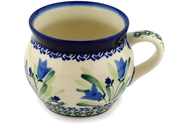 15 oz Bubble Mug - Blue Tulips | Polish Pottery House