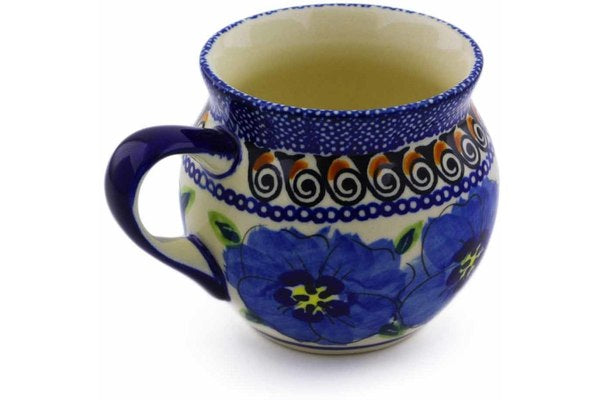 7 oz Bubble Mug - Blue Bouquet | Polish Pottery House