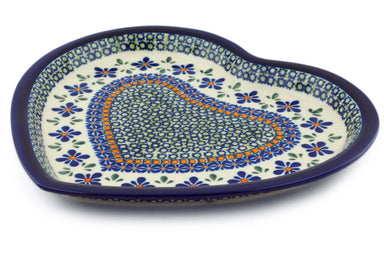 "11"" Heart Platter - Emerald Mosaic 