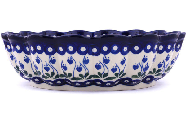 15 cup Scalloped Bowl - Blue Bell | Polish Pottery House