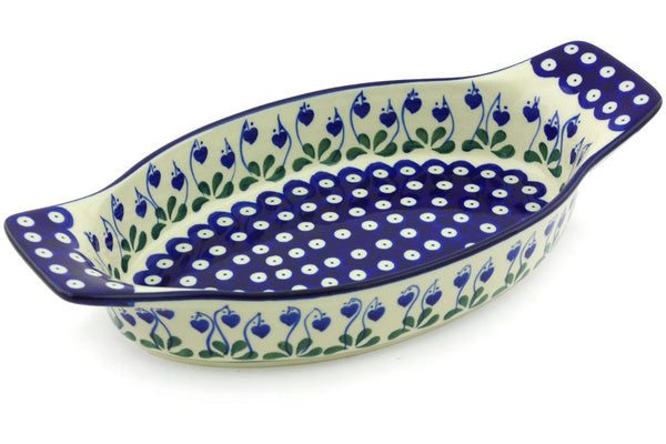 "13"" Oval Baker with Handles - Blue Bell 