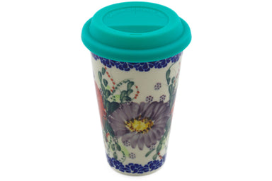 15 oz Travel Mug with Lid - P9444A | Polish Pottery House