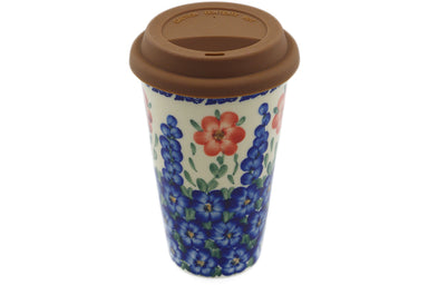 15 oz Travel Mug with Lid - P9445A | Polish Pottery House