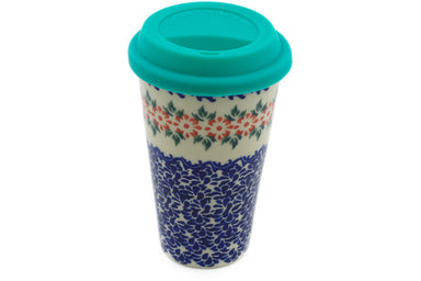 15 oz Travel Mug with Lid - P9446A | Polish Pottery House