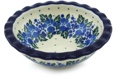 3 oz Scalloped Bowl - Wreath of Blue | Polish Pottery House