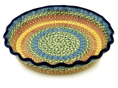 "10"" Fluted Pie Plate - Blue Autumn 