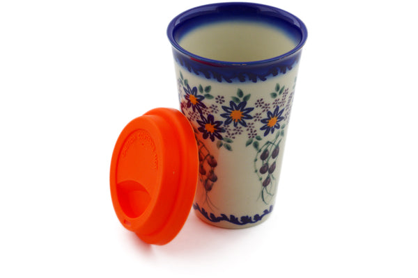 15 oz Travel Mug with Lid - P9447A | Polish Pottery House