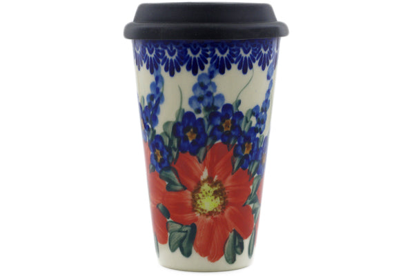 15 oz Travel Mug with Lid - P9448A | Polish Pottery House