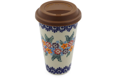 15 oz Travel Mug with Lid - P9449A | Polish Pottery House