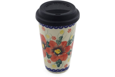 15 oz Travel Mug with Lid - P9451A | Polish Pottery House