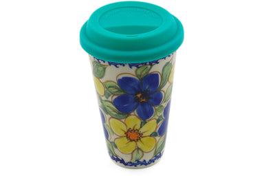 15 oz Travel Mug with Lid - P9452A | Polish Pottery House