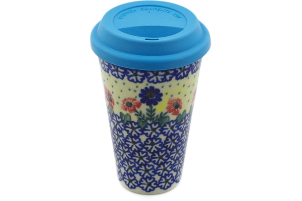 15 oz Travel Mug with Lid - P9453A | Polish Pottery House