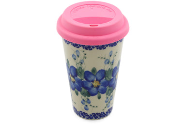 15 oz Travel Mug with Lid - P9456A | Polish Pottery House