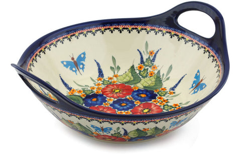13 cup Serving Bowl with Handles - Butterfly Garden | Polish Pottery House