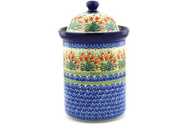 8 cup Canister - Crimson Bells | Polish Pottery House