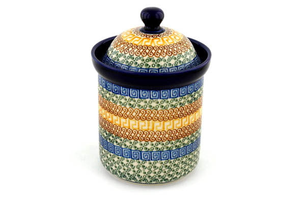 5 cup Canister - Blue Autumn | Polish Pottery House