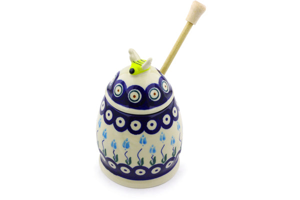 8 oz Honey Jar with Dipper - D107 | Polish Pottery House