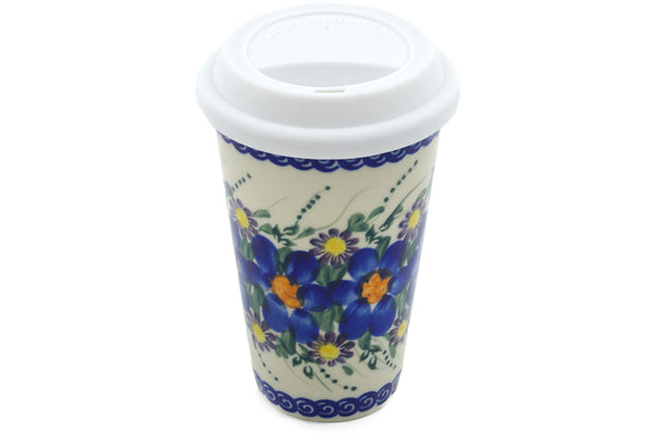 15 oz Travel Mug with Lid - P8834A | Polish Pottery House
