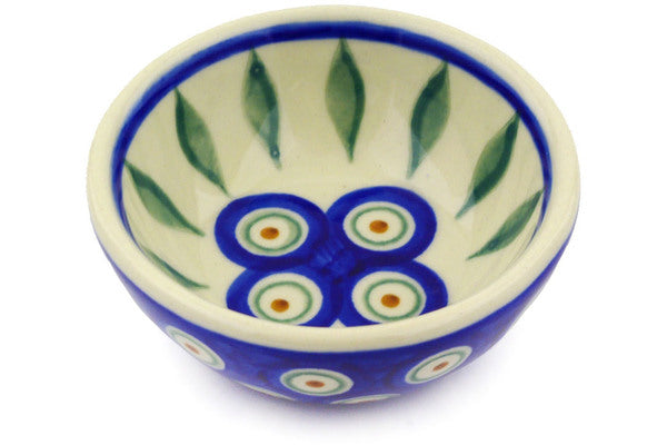 3 oz Condiment Bowl - Peacock | Polish Pottery House