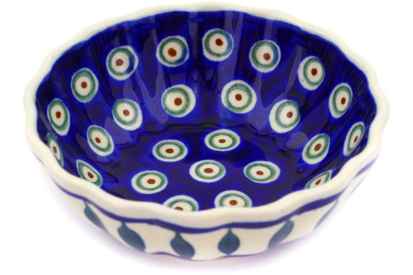 7 oz Scalloped Bowl - Peacock | Polish Pottery House