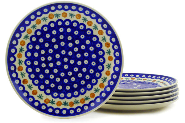 "10"" Set of 6 Dinner Plates - Old Poland 