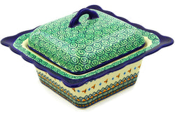 "9"" Covered Baker - Jade Swirl 