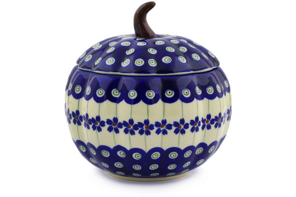 4 cup Canister - Floral Peacock | Polish Pottery House
