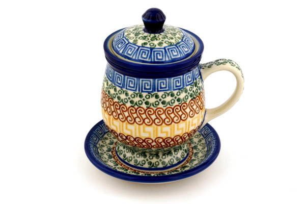 10 oz Brewing Mug - Blue Autumn | Polish Pottery House