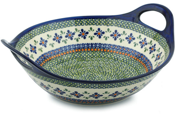 13 cup Serving Bowl with Handles - Emerald Mosaic | Polish Pottery House