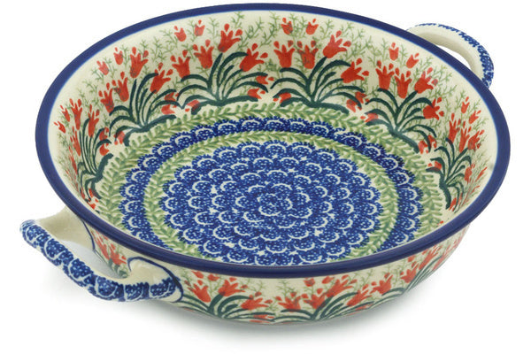 "8"" Round Baker with Handles - Crimson Bells 