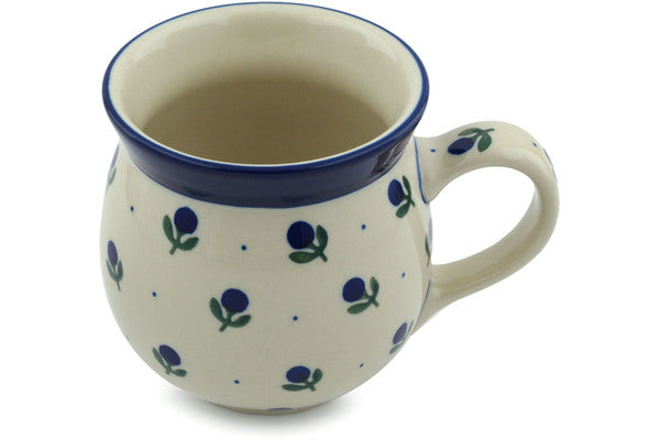 15 oz Bubble Mug - Blue Buds | Polish Pottery House