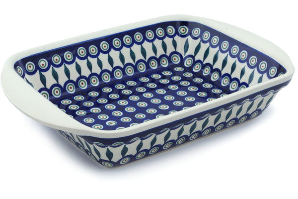 "9"" x 14"" Rectangular Baker with Handles - Peacock 
