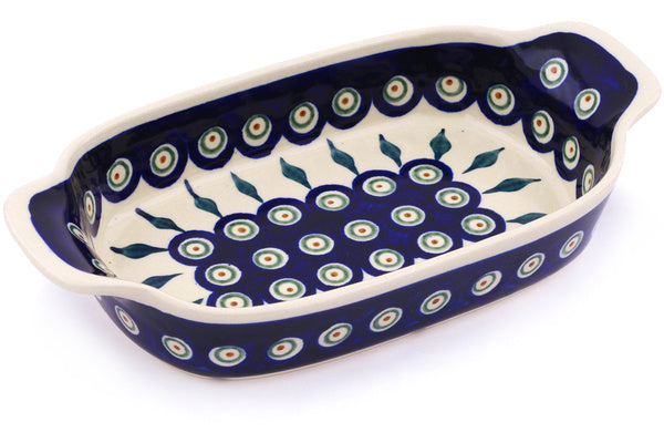 "5"" x 10"" Rectangular Baker with Handles - Peacock 
