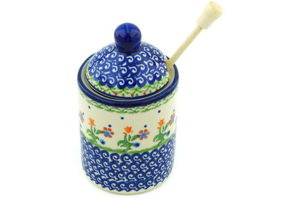 2 cup Honey Jar with Dipper - D19 | Polish Pottery House