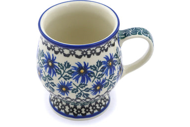 8 oz Mug - Blue Daisy | Polish Pottery House