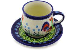 3 oz Espresso Cup with Saucer - Rise & Shine | Polish Pottery House