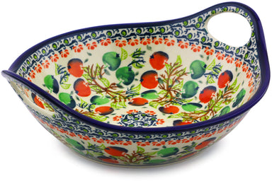 4 cup Serving Bowl with Handles - Apple Orchard | Polish Pottery House