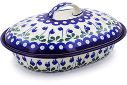 4 cup Covered Baker - Blue Bell | Polish Pottery House