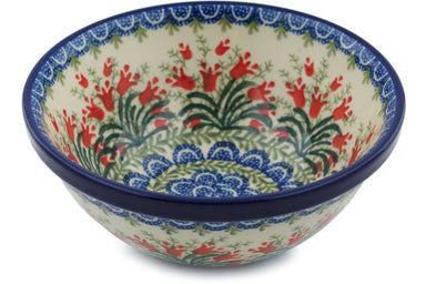3 cup Cereal Bowl - Crimson Bells | Polish Pottery House