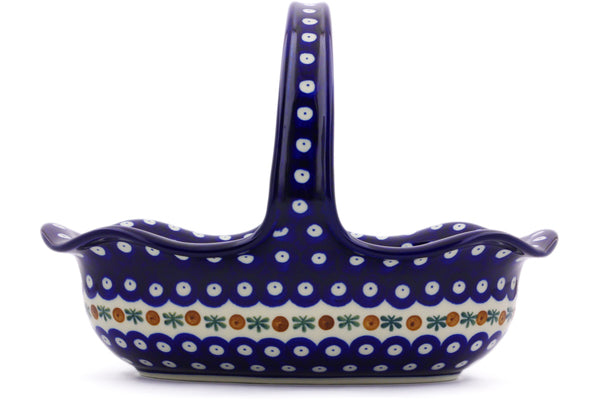 "8"" Basket with Handle - Blue Old Poland 
