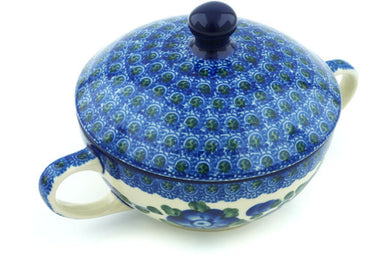 8 oz Soup Cup with Lid - Heritage | Polish Pottery House