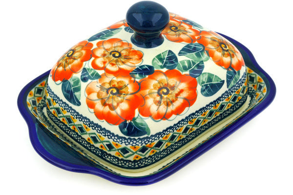 "8"" Butter Dish - Coral Blossom 