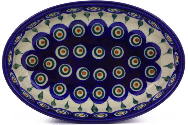 "8"" Oval Baker - Blue Peacock 